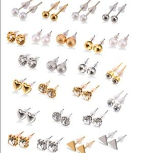 Sliver and Gold 24 piece earring set
